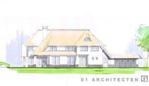 Villa wit riet stucwerk voorgevel