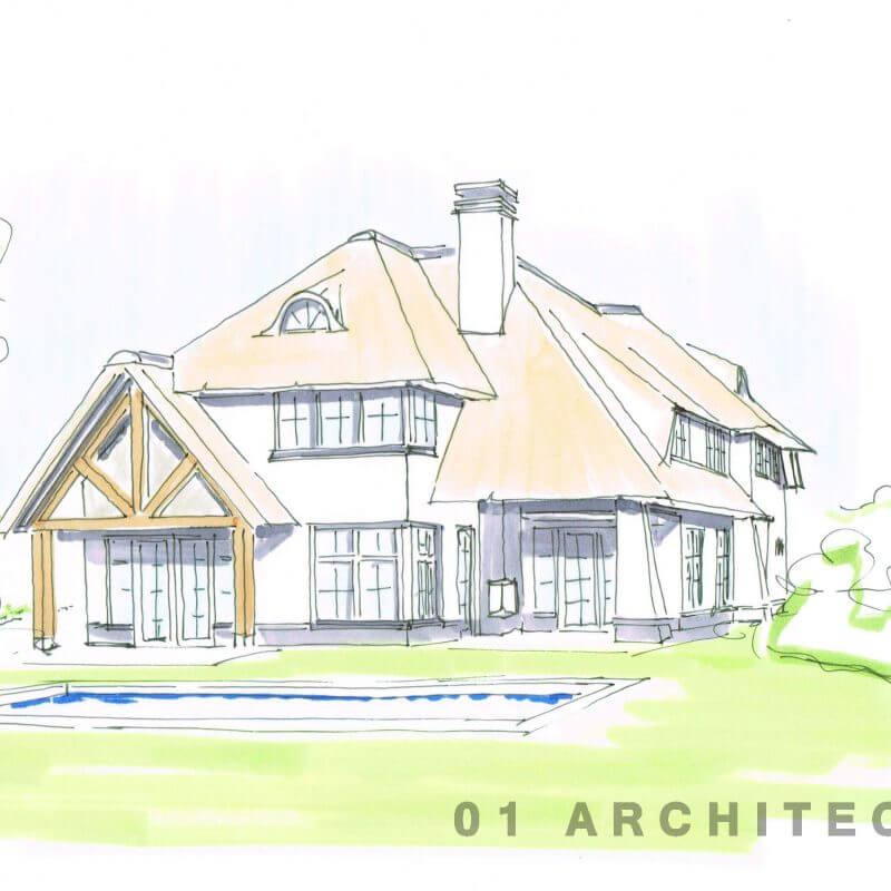 Villa wit riet stucwerk voorgevel perspectief