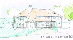 Villa wit riet stucwerk voorgevel perspectief oprit