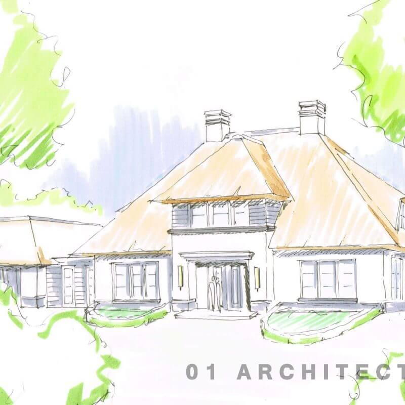 Witte rietgedekte villa in het buitengebied