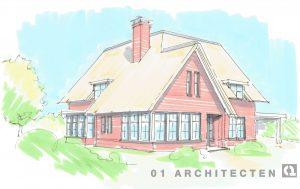 Klassieke villa nieuwbouw Almelo rietgedekt voorgevel