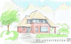 Nieuwbouw woonhuis met riet donkere kozijnen in Hellendoorn