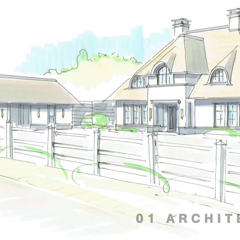Nieuwbouw villa wit riet perspectief