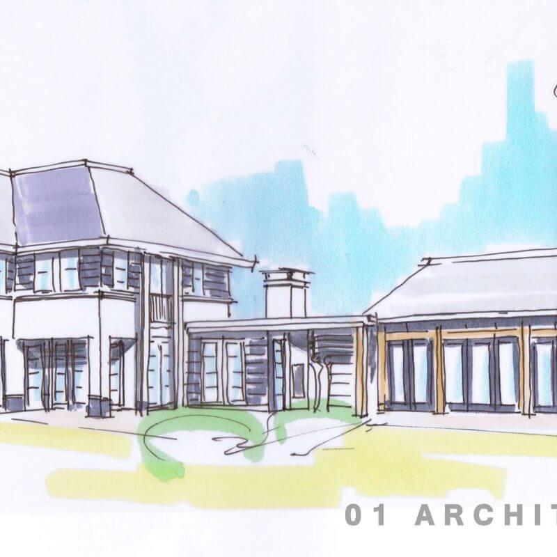 Perspectiefschets witte villa met 2 bouwlagen en een kap met eikenhouten zwembadgebouw Montfoort regio Utrecht