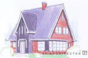 Schets jaren 30 woning met verticaal houten delen rode steen witte kozijnen roedes schoorsteen Enschede Overijssel