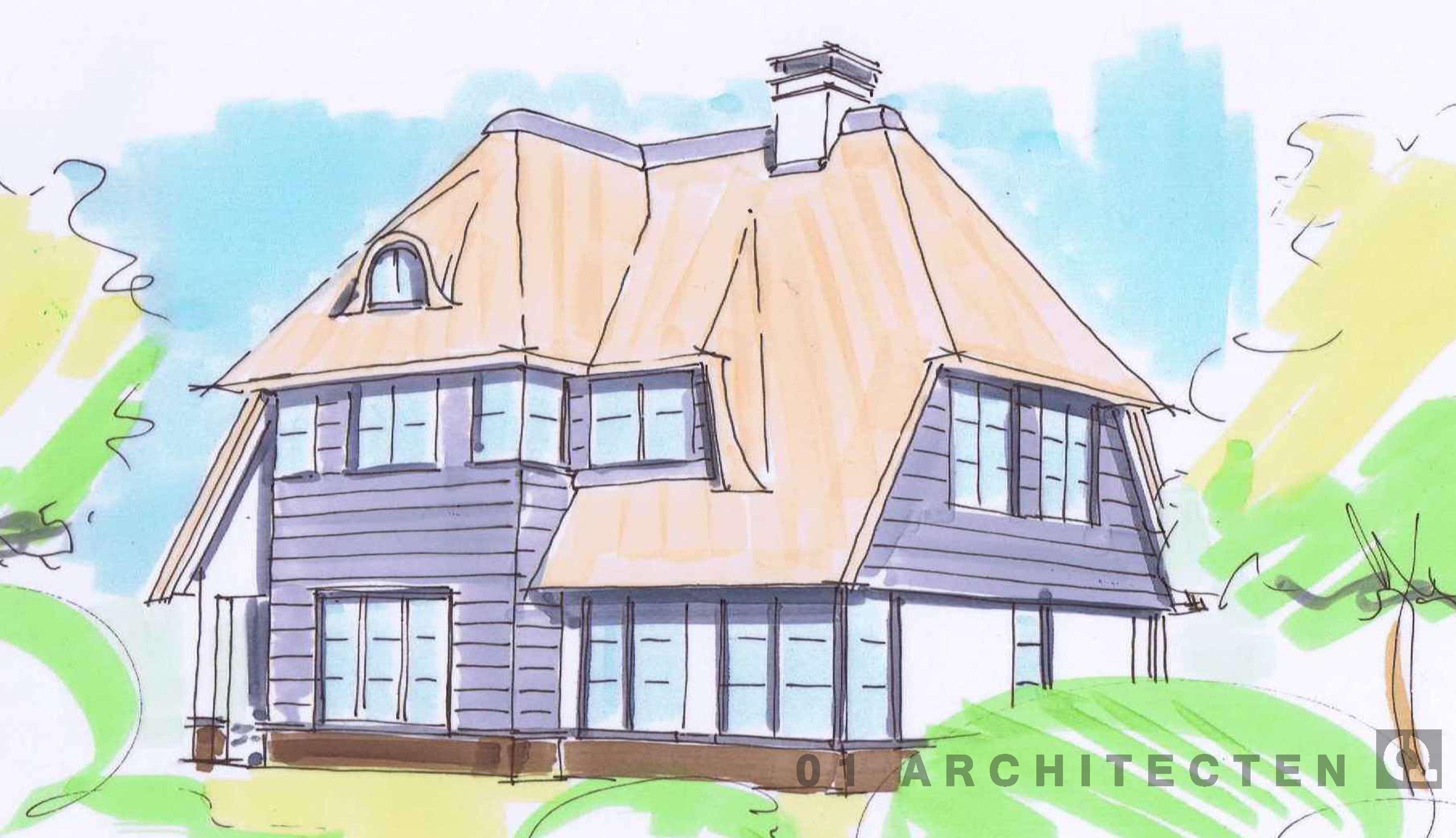 Schets speelse villa verspringend dak in riet zwart houten planken roedes schoorsteen veranda eikenhout Zeist Utrecht
