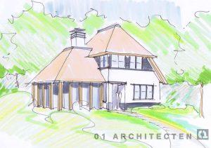 Nieuwbouw rietgedekte villa met verspringende hoogtes en eikenhout