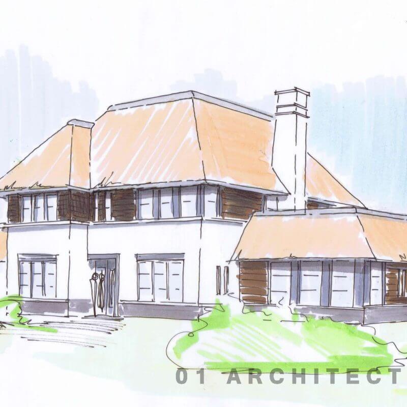 Nieuwbouw rietgedekte villa met witte gevel en rieten dak