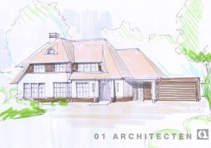 Nieuwbouw speelse villa met rieten kap brede dakkapel witte gevel en veranda