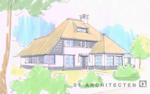 Nieuwbouw villa riet klassiek Vogelenzang Bloemendaal verspringende rietlijn roedes en wit stucwerk hout