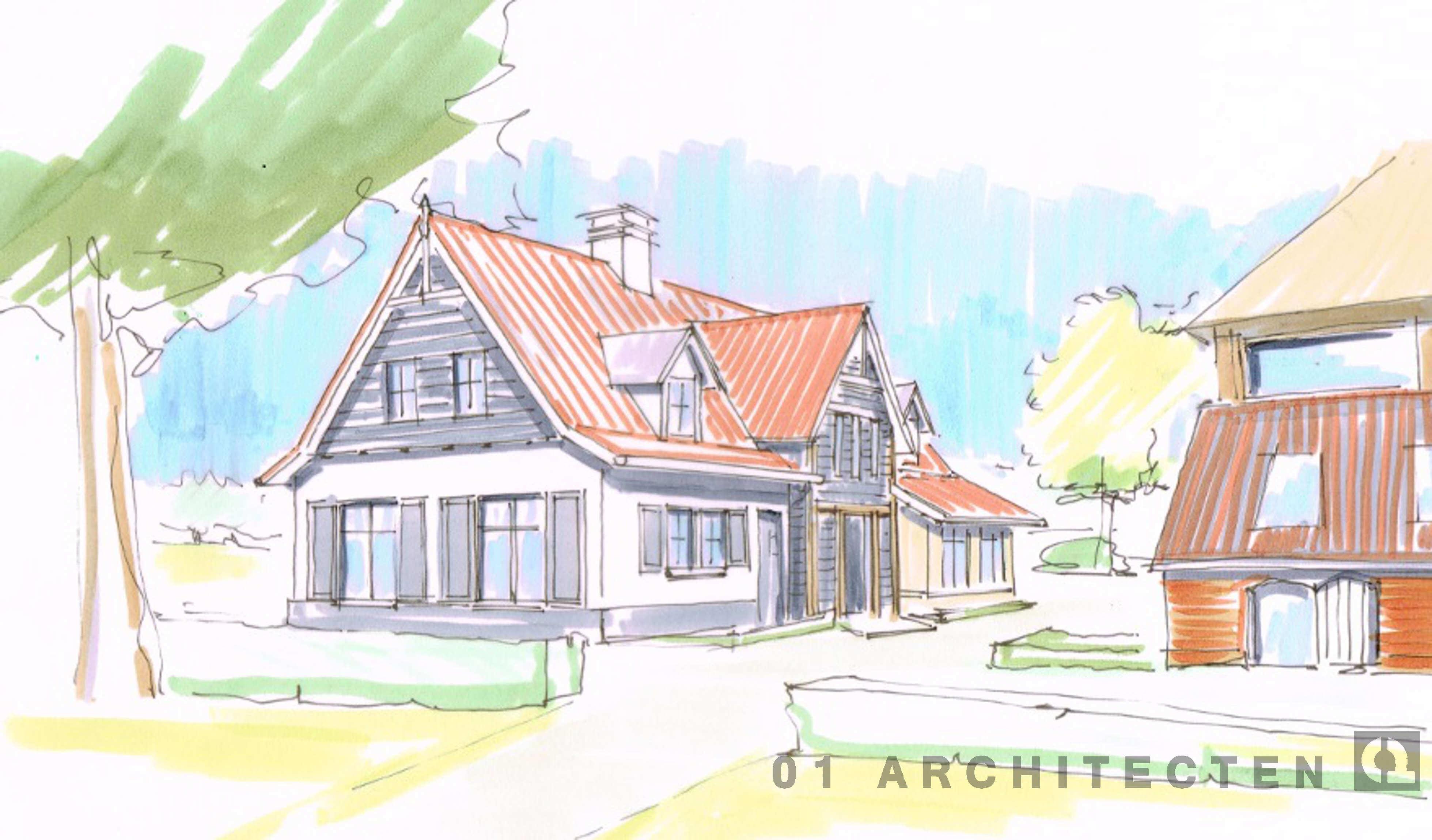 Nieuwbouw vrijstaande woning met luiken rode pannen stucwerk en eikenhouten accenten tussen Eerbeek en Zutphen