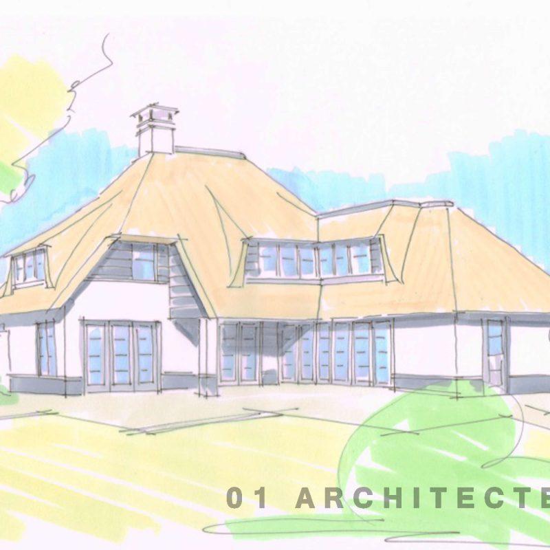Speelse nieuwbouw villa met roedes wit stucwerk veranda en verspringende rietlijn