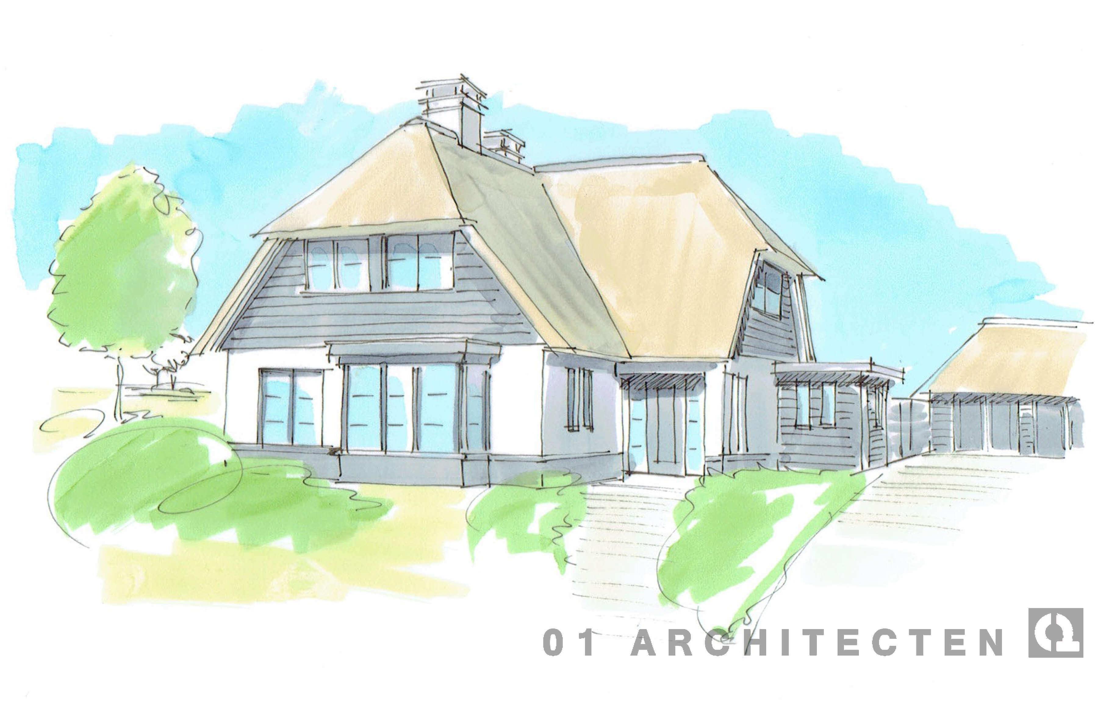 nieuwbouw_villa_wit_riet_donkere kozijnen_Hardenberg_perspectief_3