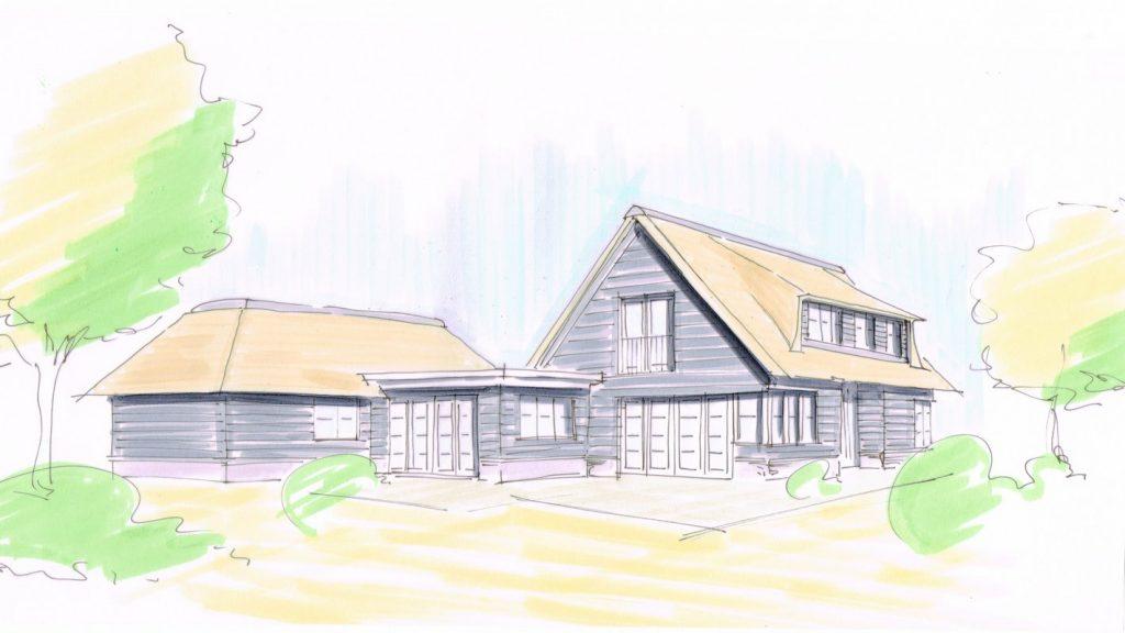schetsen nieuwbouw houten villa Wateringen Zuid Holland
