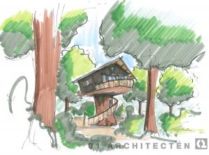 Boomhut op nieuw aan te leggen recreatiepark 01 Architecten zakelijk