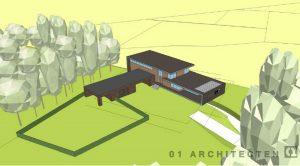 Bovenaazicht landgoedwoning op landgoed Schuilenburg te Hellendoorn, vormgegeven als moderne villa 01 Architecten zakelijk