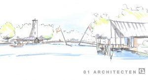 Recreatiewoningen aan het water, verscholen in het riet, met brug en centraal parkgebouw 01 Architecten zakelijk