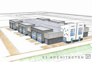Schets bedrijfsverzamelpand te Almelo in opdracht van Brunsman Beheer 01 Architecten zakelijk