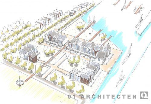 Stedenbouwkundige uitbreiding met eigentijdse woningen aan de haven te Vogelvlucht Friesland 01 Architecten zakelijk