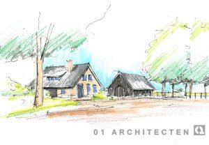 Perspectiefschets schuurwoning en schuur 01 Architecten zakelijk