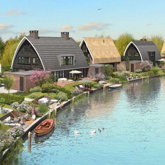 moderne woningen aan het water Blaricummermeent