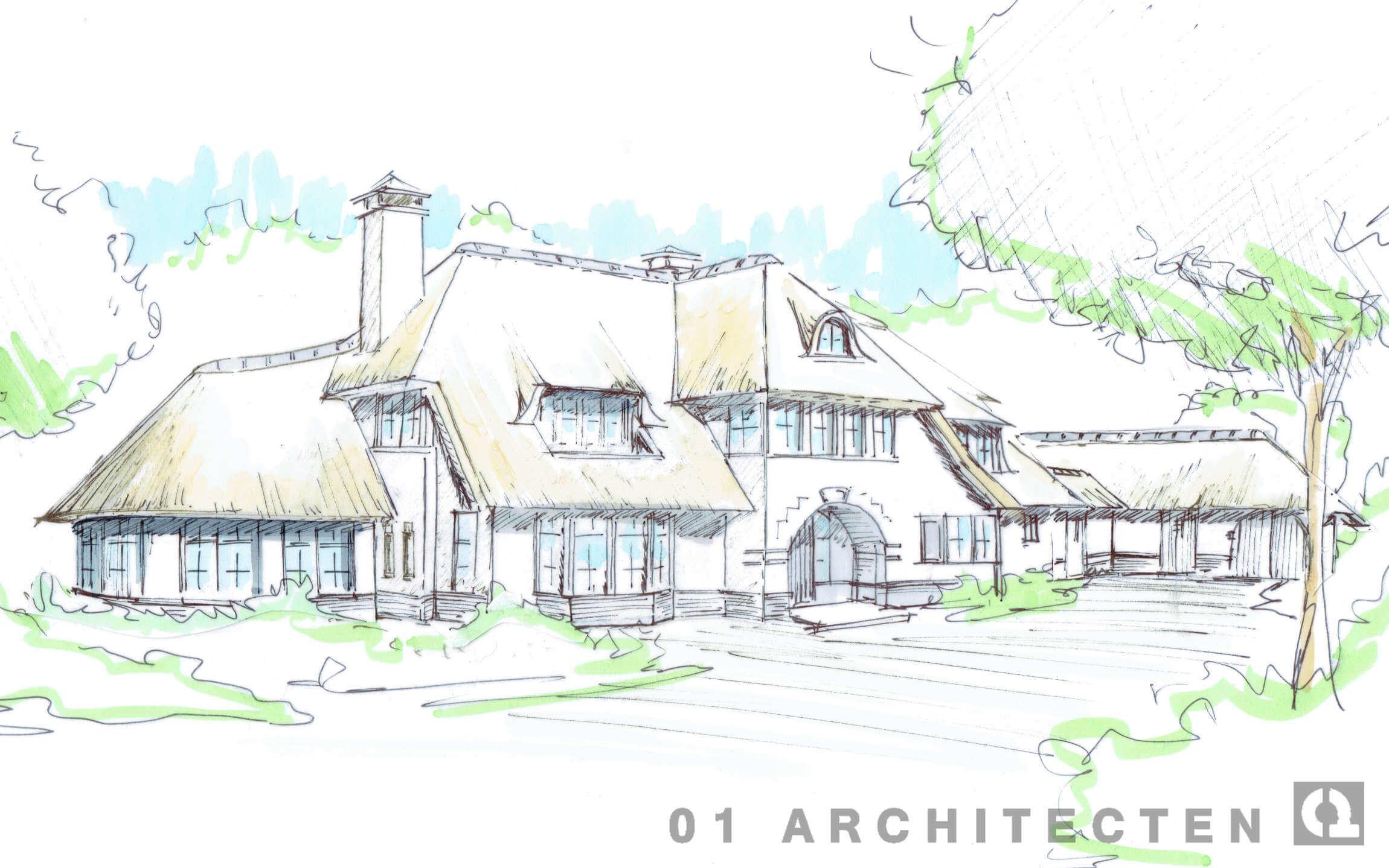 nieuwbouw speels rietgedekt landhuis met karakter