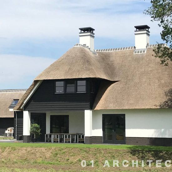 Architect Nijverdal royale villa met riet en veranda in buitengebied Overijssel