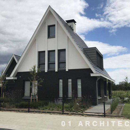moderne woning met verticaal kozijnen zwart wit