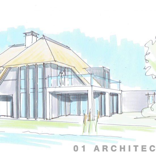 Moderne villa Blaricummermeent met veranda aan waterzijde