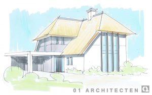 Schets van een moderne asymmetrische villa Blaricum