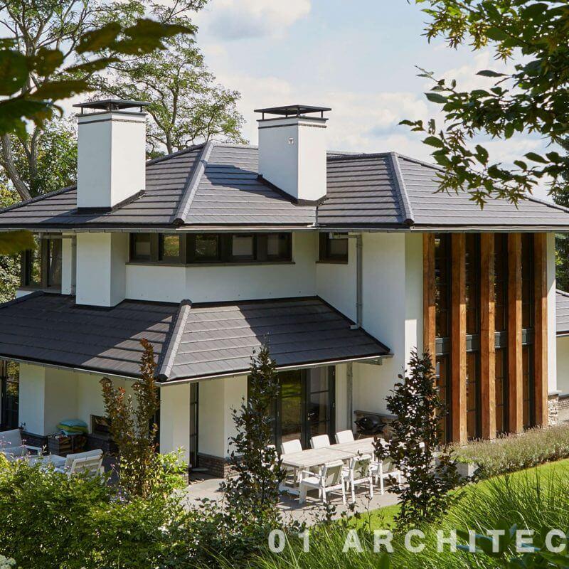 Villa schoorteen wit speels architect