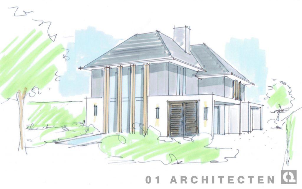 Moderne villa met strakke witte veranda