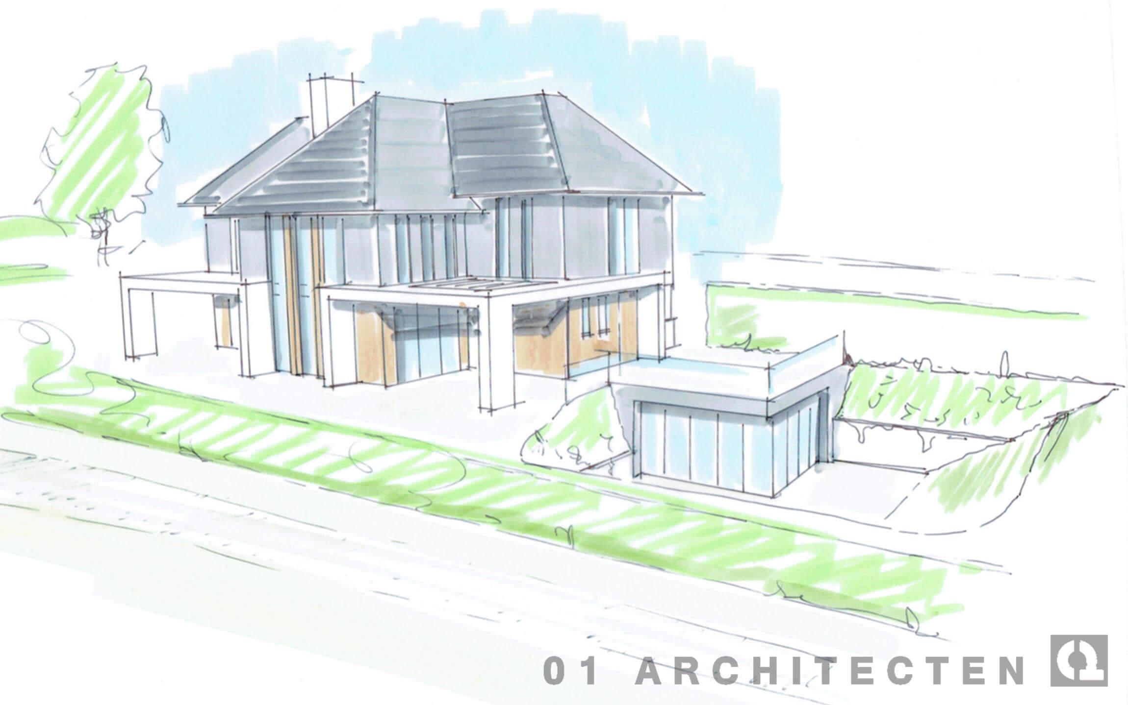 moderne villa veranda zwembad kelder