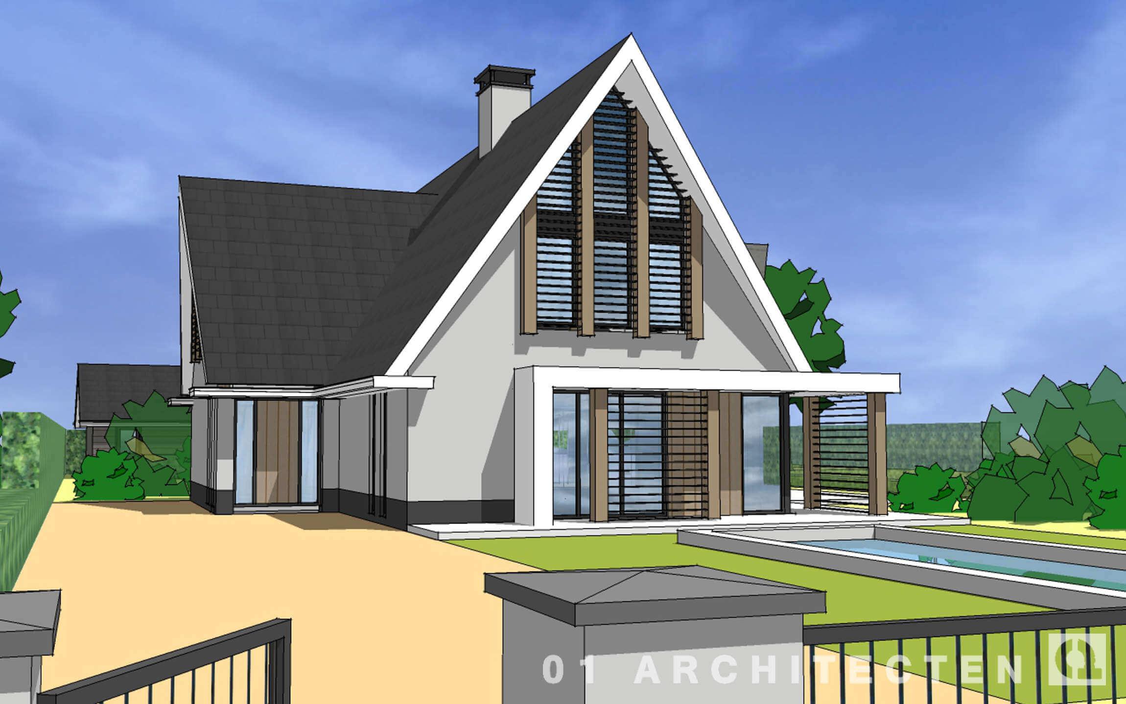 Grijs gestucte moderne villa met lamellen tussen de eikenhouten accenten midden Nederland