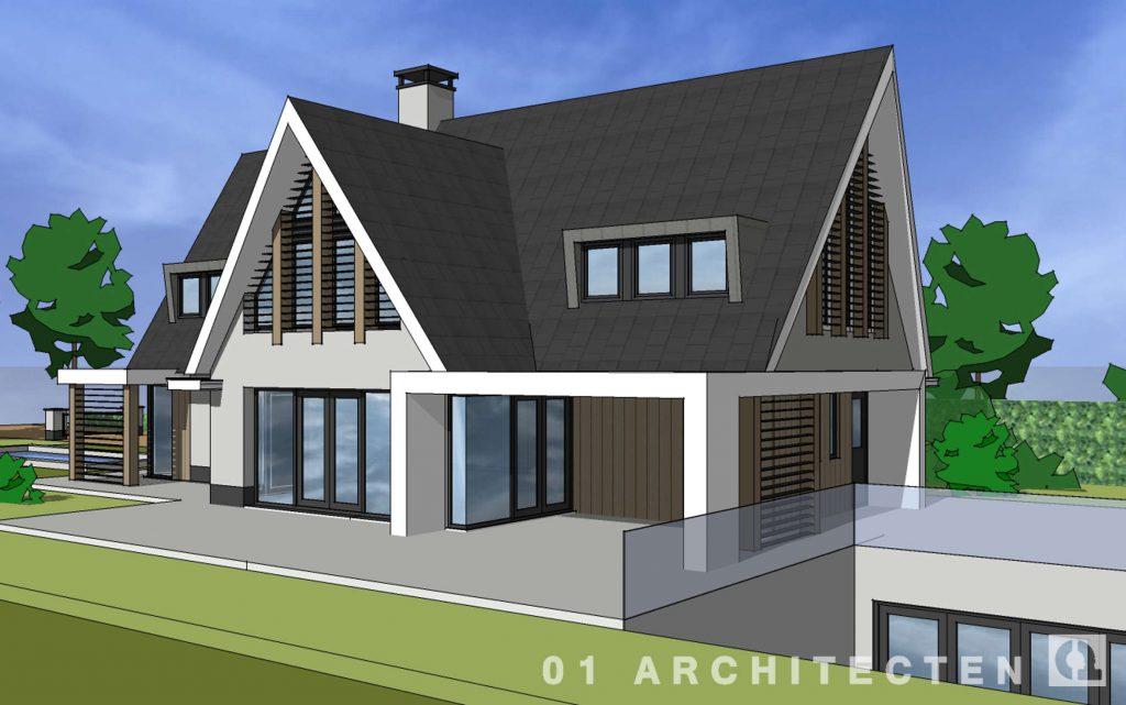 schetstontwerp moderne villa eikenhout veranda met houten accentvlakken