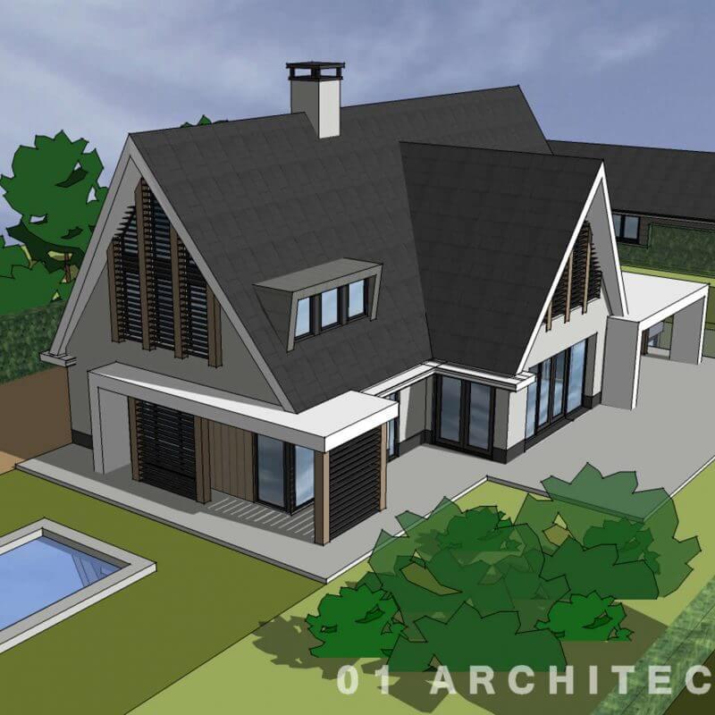 Ontwerp moderne villa met vooruitstekende schuine kap en lamellen