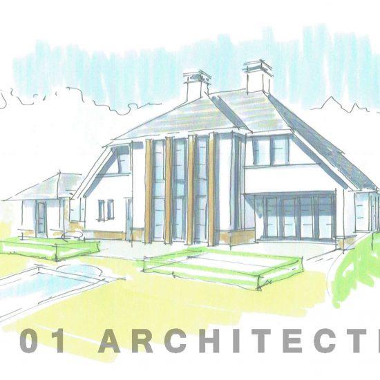 Villa Frank Lloyd Wright stijl wit stucwerk eikenhout accent