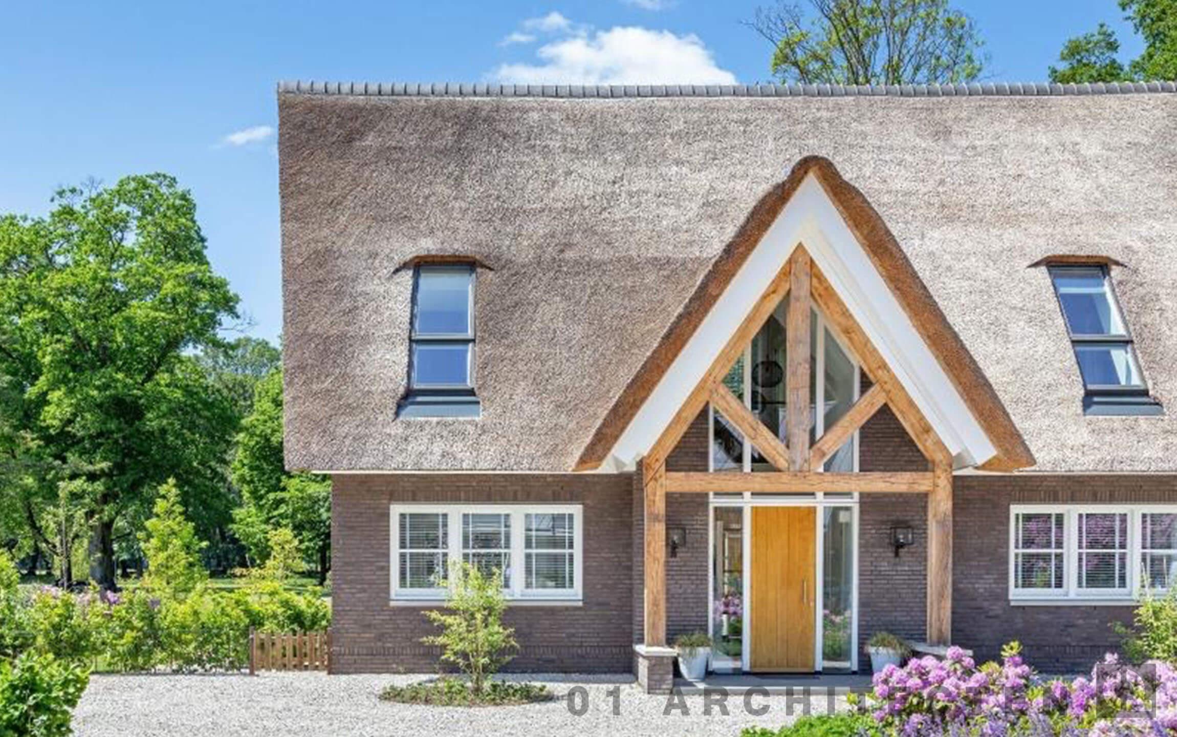 eiken houten gebinten entree schuindak architect lochem