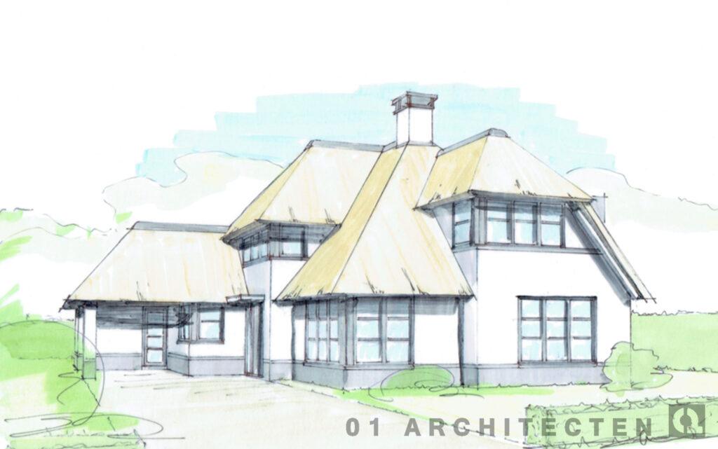 luxe nieuwbouw woning riet bijgebouw met kap