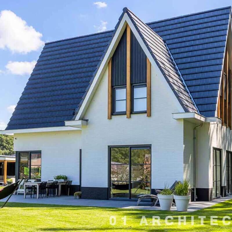 moderne nieuwbouw woning pannen wit stuc verticaal hout architect Diepenveen