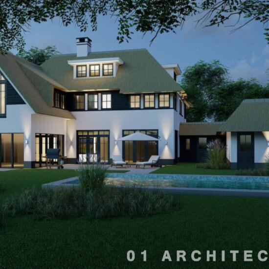 architect nieuwbouw riet wit hout zwembad