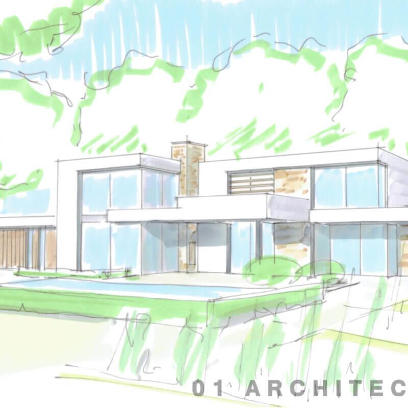 Moderne strakke witte nieuwbouw villa schets achter
