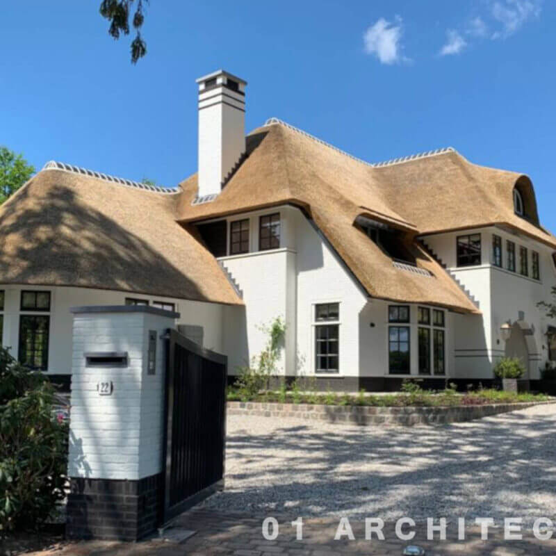 romantisch riet villa blaricum architectenbureau wit speels nieuwbouw